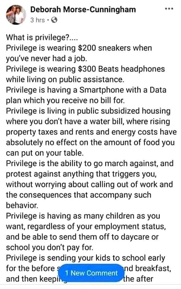 """Что такое """"Привилегии"""" по мнению учительницы изНью-Йорка Дебора Морз-Каннингхэм"""