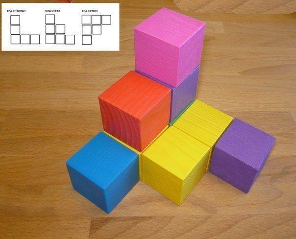 ДИДАКТИЧЕСКАЯ ИГРА ДЛЯ РАЗВИТИЯ 3D МЫШЛЕНИЯ Игра развивает визуальное восприятие и воображение. Варианты: 1. Даны три проекции, постройте по ним конструкции и посмотрите, что получилось. 2.