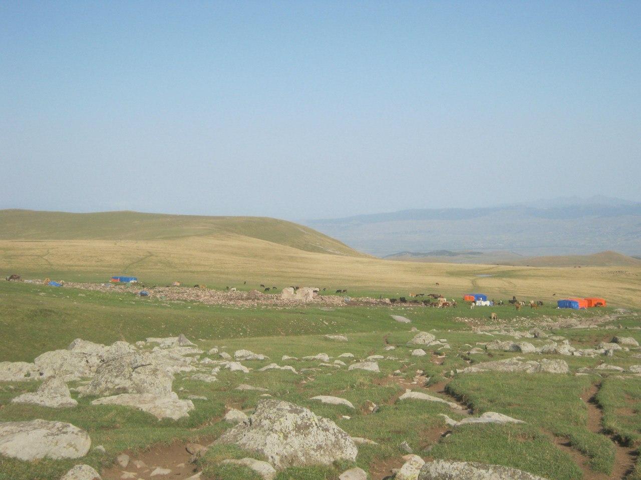 Групповая стоянка азербайджанских пастухов в горах Грузии