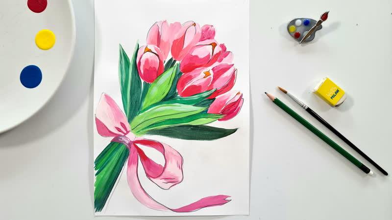 Рисование для детей как нарисовать цветы тюльпаны