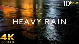 HEAVY RAIN at Night 10 Hours. Heavy Rain sounds for Relaxing, Sleep, Study, insomnia, reduce Stress