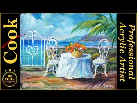 Tea by the Sea an Acrylic Painting Tutorial for Beginner and Advanced Artists with Ginger Cook