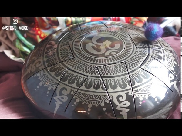 Pygmy Pentatonic Handmade steel tongue drum with Aum mandala