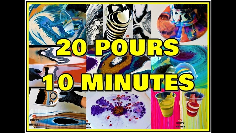 20 Acrylic Pours in 10 Minutes - Oddly Satisfying Fluid Art Compilation Extreme!