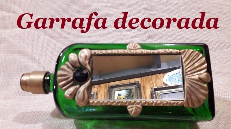 Garrafa decorada com espelho - massa de biscuit @luci buzo