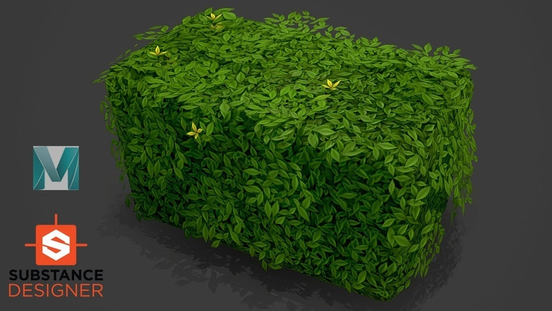 Autodesk Maya 2019, Substance Designer - Stylized Bush