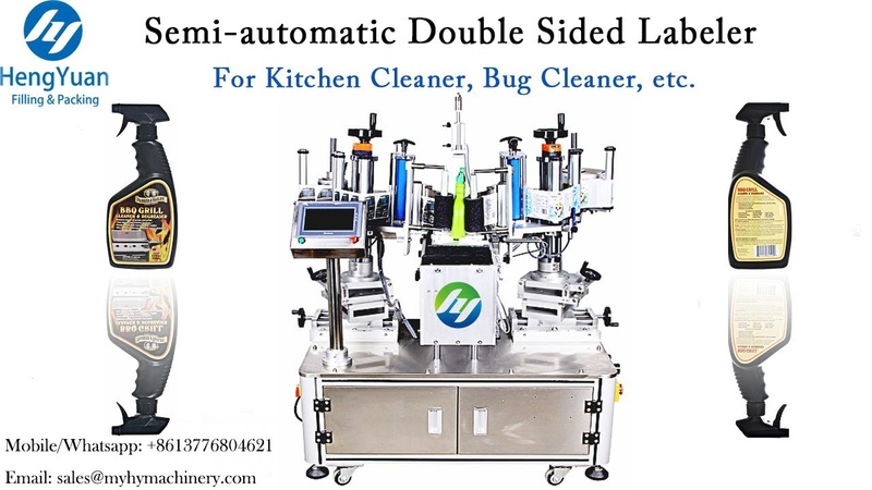 Semi automatic double sided bottle labeler used for Kitchen Cleaner Bug Cleaner Label Applicator