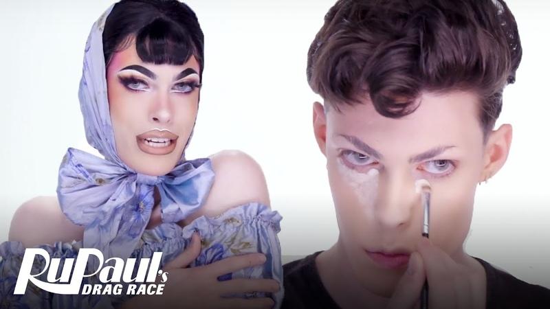 Gigi Goode's Blue Satin Look Makeup Tutorial RuPaul's Drag Race S12