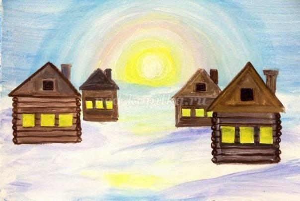 Зимний пейзаж гуашью Автор: Яковлева Наталья Анатольевна