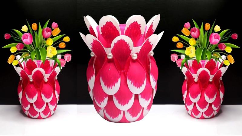 Ide Kreatif Vas Bunga Cantik dari Sendok Plastik Plastic spoon flower vase