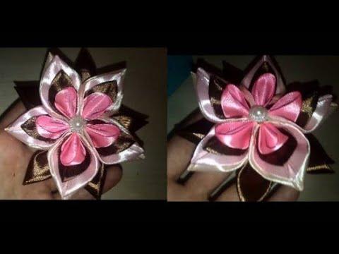 Бант канзаши diy kanzashi satijnen lint decoratie サテンリボンの花 Flower of satin ribbons