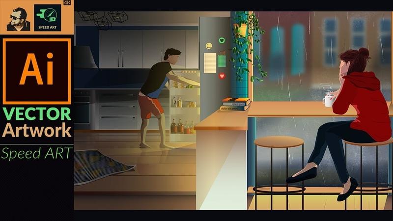 Rainy Day | Making a Scene in Adobe Illustrator CC | Speed Art