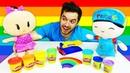 Play Doh gökküşağı! Pepee ve Bebe oyun hamuru ile renkleri öğreniyorlar