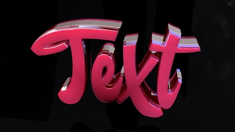 Pink Glass Glossy Text Template for Cinema 4D FREE
