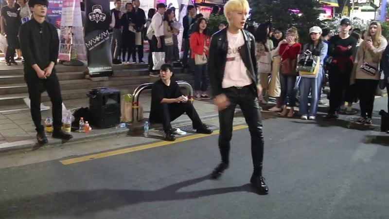 FANCAM Jingyu dance cover GOT7 Hard Carry @ Hongdae k pop dance
