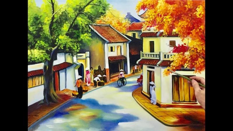 Nữ họa sĩ vẽ tranh sơn dầu phố cổ hà nội đẹp tuyệt