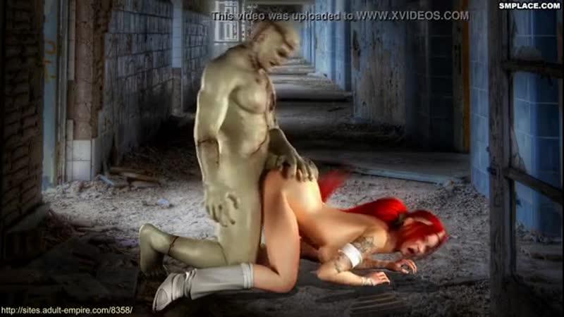 Секс-мультики: Чудовище Франкенштейна трахает рот и влагалище рыжей принцессы с большими дойками