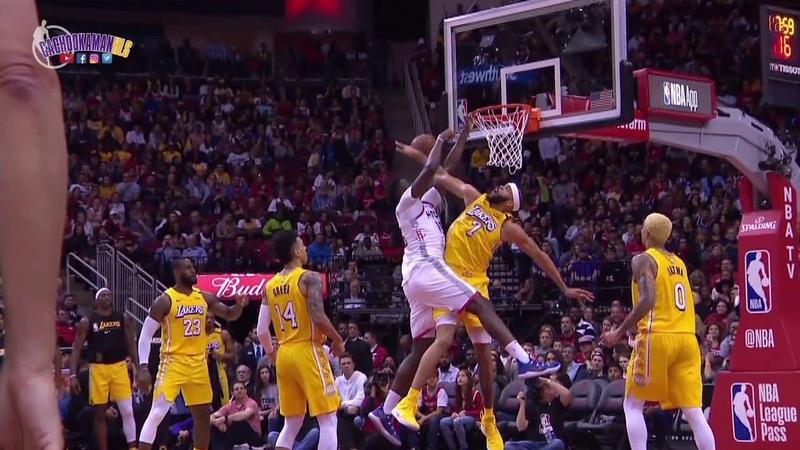JaVale McGee Blocks Clint Capela Dunk Attempt Lakers vs Rockets January 18 2020