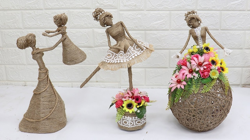 3 Beautiful Jute craft doll | How to decorate doll from jute rope | 2
