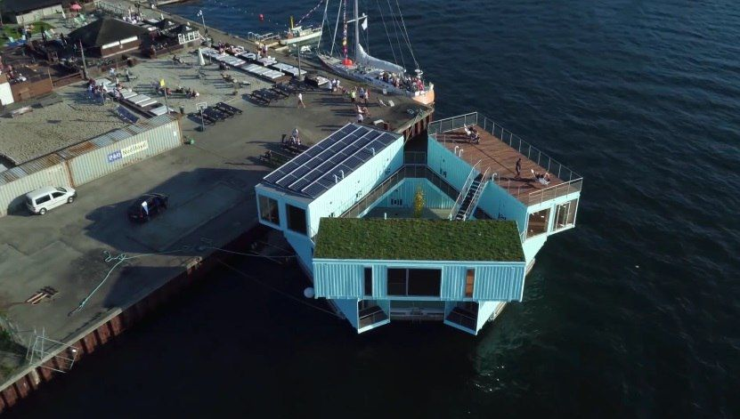Плавучие дома из контейнеров Urban Rigger обеспечат дешевым экожильем студентов