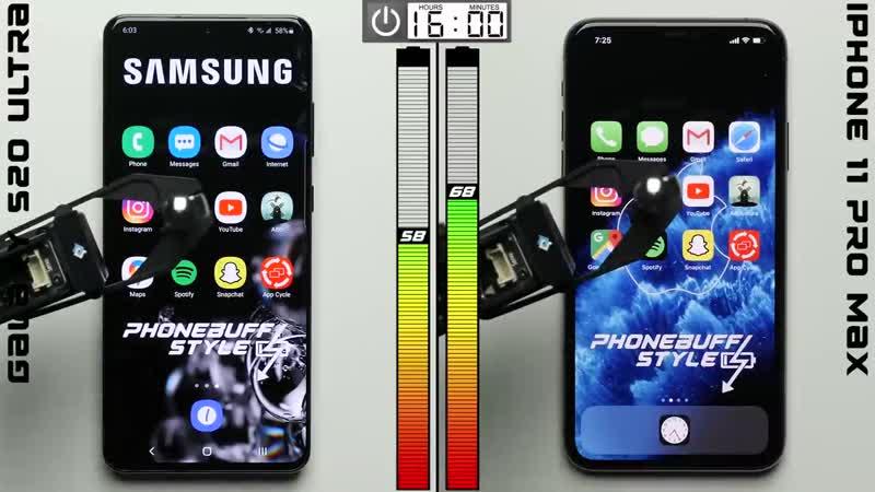 Galaxy S20 Ultra vs iPhone 11 Pro Max Battery Test