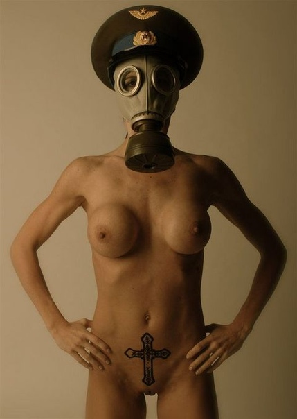 Environment, Nude Man With Gas Mask, Pollution Concept Stock Photograph