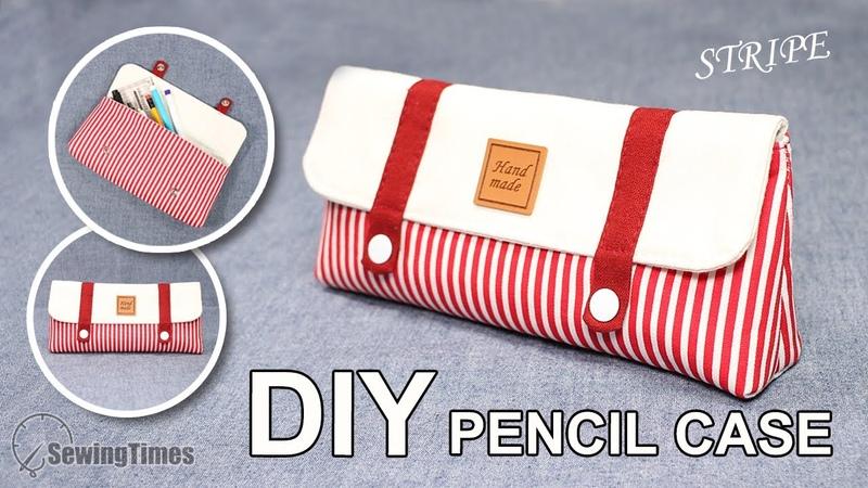 DIY STRIPE PENCIL CASE Pen Pouch Bag Easy Tutorial sewingtimes