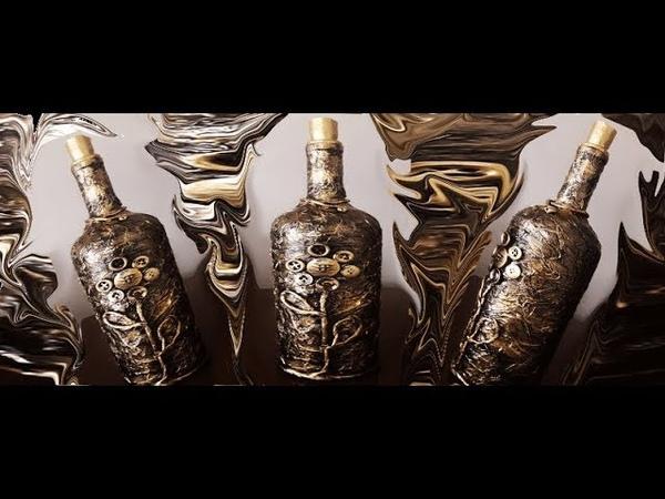 Decoupagem em garrafa com guardanapo e botões ( Passo a passo )