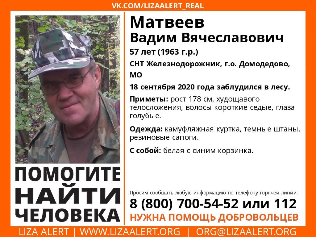 Внимание! Помогите найти человека! Пропал #Матвеев Вадим Вячеславович, 57 лет, СНТ #Железнодорожник, г