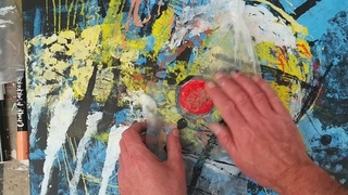 Monoprinting with chalk markers on stretched canvas using black gesso