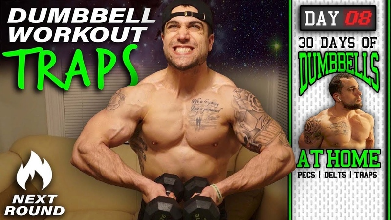 Dumbbell Traps Workout At Home 30 Days to Build Pecs Delts Trap Muscles Dumbbells Only