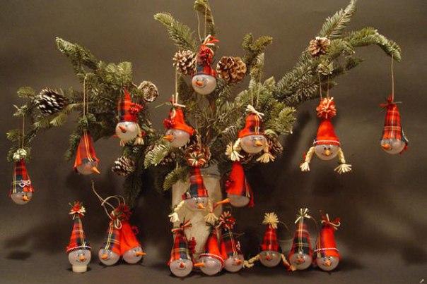 Елочные игрушки из лампочек. Мастер-класс