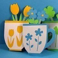 Открытка своими руками Кружка с цветами Порадуйте маму и бабушку!