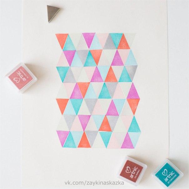 РИСУНКИ ИЗ ГЕОМЕТРИЧЕСКИХ ФИГУРОК Необычная техника рисованияВырежьте из блока для декоративных штампов печати различных форм: квадраты, треугольники, прямоугольники.Можно также сделать печати