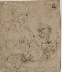 michelangelo drawing madonna and child 1525 - HD1369×1600