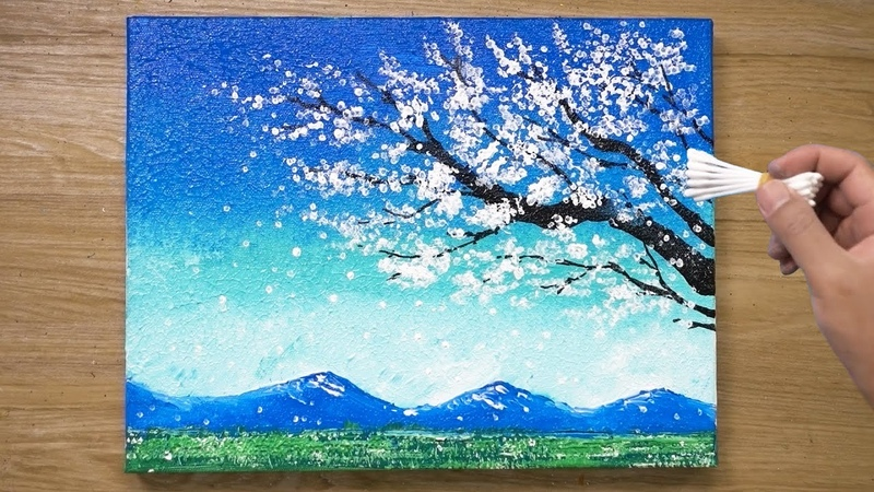 Painting a White Cherry Blossom Tree Cotton Swabs Painting Technique 436