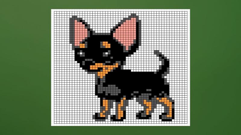 Рисунок собаки чихуахуа по клеточкам | Как нарисовать собачку чихуа по клеткам | Dog pixel art