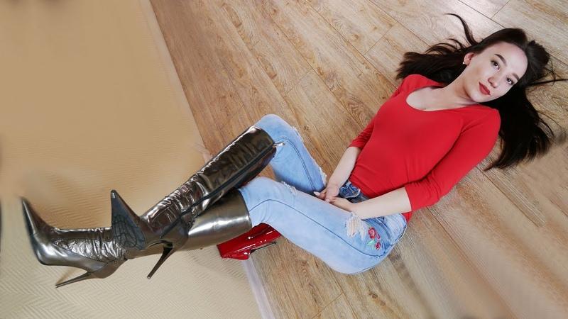 Christina's Gianmarco Lorenzi stiletto heels patent leather boots Кристина Кожина June 1 2018