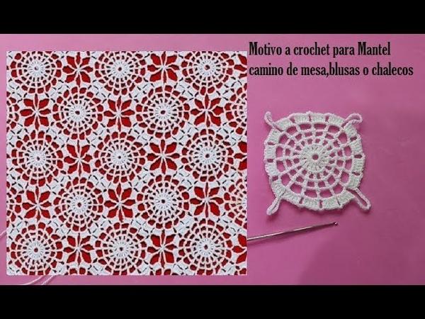 Motivo circular a crochet para mantel